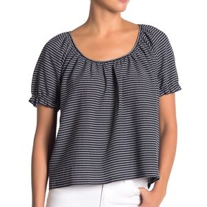 NWT Madewell Texture and Thread M Navy Striped Top